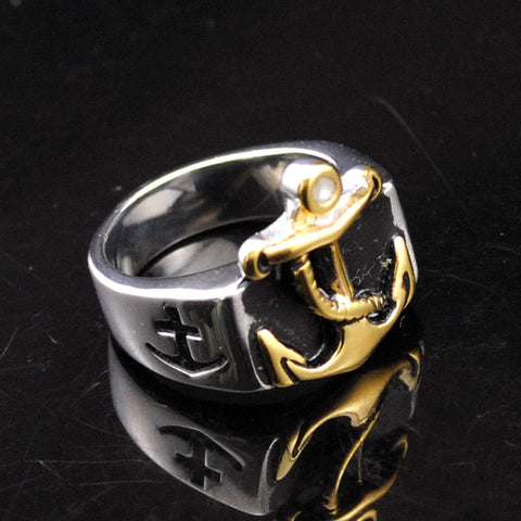 Gold Plated Anchor Stainless Steel Ring 2016 Fashion Hot Punk Party Gift Men's Rings Jewelry Wholesale, GR403 - onlinejewelleryshopaus