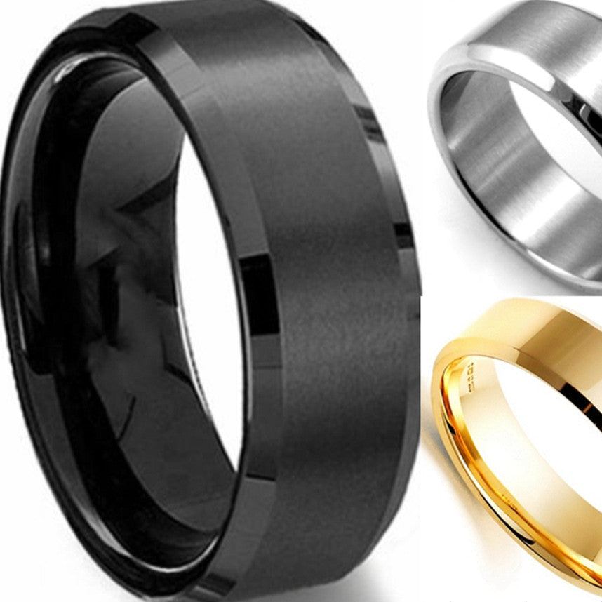 71c31457d0d Men 7-15 and Half Sizes 8MM Black Gold Silver 316L Stainless Steel Brushed  Classical