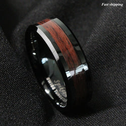 8mm Men's Tungsten Carbide Red Wood Inlay Black Plat Wedding Band Ring Size 6-13 Free Shipping - onlinejewelleryshopaus
