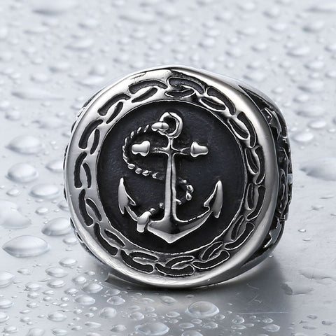 Steel soldier drop shipping stainless steel anchor ring for men punk vintage good detail men jewelry - onlinejewelleryshopaus