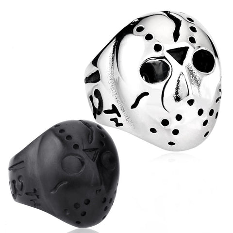 Men's Biker Jason Voorhees Hockey Mask Ring Friday the13th 316L Stainless Steel Band Factory Price Wholesale - onlinejewelleryshopaus