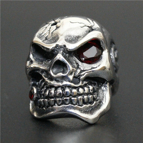 Size 8-13 Fashion 3 Color Stone Eye Smoling Silver Skull Ring For Mens Ring 316L Stainless Steel High Quality Fashion Biker Ring - onlinejewelleryshopaus