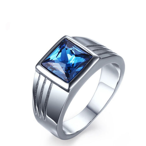 unique tungsten ring men wedding band blue cz diamond jewelry anillos fashion jewellery can touch water never fade - onlinejewelleryshopaus