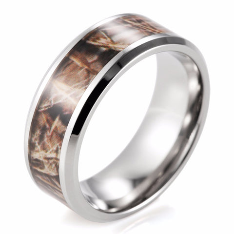 8mm Titanium Realtree MAX-4 Camo Ring wedding band Men rings anel anillos Outdoor Ring for Men - onlinejewelleryshopaus