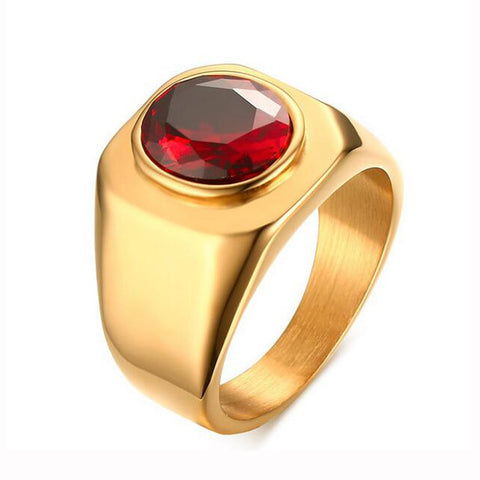 Gold Plated Stainless Steel Ring with Round Shining Red Cubic Zirconia Stone Engagement Ring for Men - onlinejewelleryshopaus