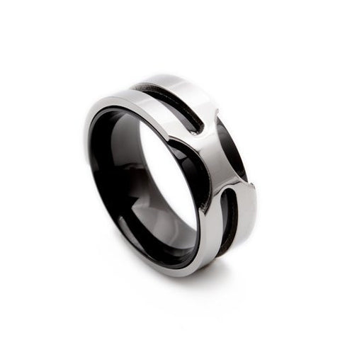 Black & Silver Cool Stainless Steel Mens Ring Size 8 9 10 11 12 13 R320 - onlinejewelleryshopaus