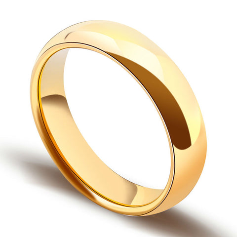 Classic Gold Plating Tungsten Carbide Rings for Man Woman Lover Dome Band Alliance Bridal Jewellery Couples Ring - onlinejewelleryshopaus