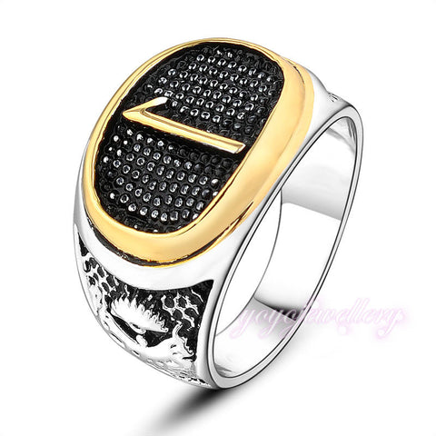 Mytys Muslim Islamic Men's Ring White Gold Plated Cooper Metal No.1 Ring Black Ring for Men R943 - onlinejewelleryshopaus