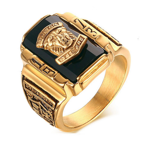Suohuan Male Cool Lion Head Rock Punk Ring Gold Plated Large Black CZ Stone Men Ring Men Jewelry School Party Rings for man - onlinejewelleryshopaus