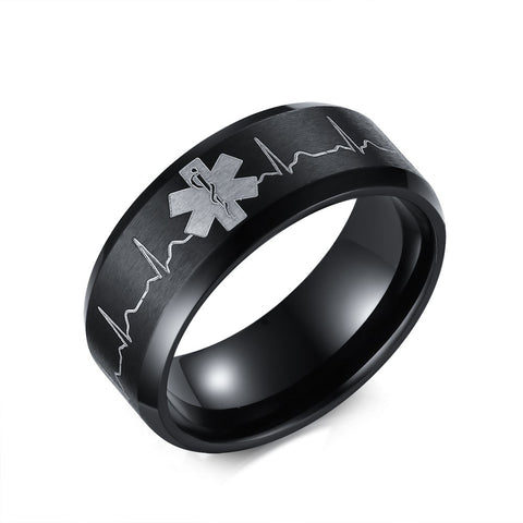 Mprainbow 8MM Men Stainless Steel Comfort Fit Ring Laser Engraved Heartbeat Medical Symbol Black Wedding Band US Size 5 to 14 - onlinejewelleryshopaus