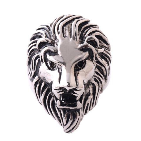 High Quality Stainless Steel Lion Ring Biker Gothic Lion Head Ring Black Heavy Thai Unique Men's Rings PR004 - onlinejewelleryshopaus