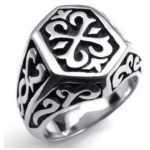 Stainless Steel Thors Hammer Men's Ring, Color Black Silver - onlinejewelleryshopaus