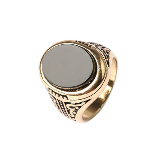 Vintage Mens Rings New Arrival Gold/Silver Plated Carved Big Stone Ring Fashion Jewelry - onlinejewelleryshopaus