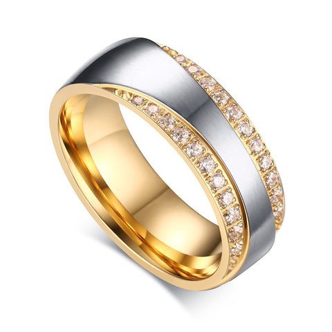 Gold Plated Alliance Ring CZ Diamond Wedding Band Ring for Women and Men Quality Titanium Steel Couple Ring Wholesale - onlinejewelleryshopaus