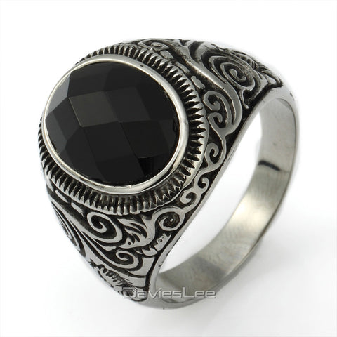 Gothic Punk Black Cut CZ Engraved Swirl Silver Tone 316L Stainless Steel Mens Ring US Sz 7-15 LHR35 - onlinejewelleryshopaus