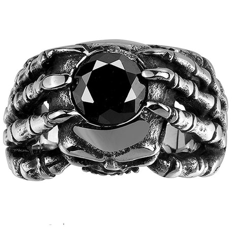 Men's Stainless Steel Dragon Claw Gothic Biker Ring 316L Stainless Steel Supreme Vintage Cool Retro Stone Rings For Man - onlinejewelleryshopaus