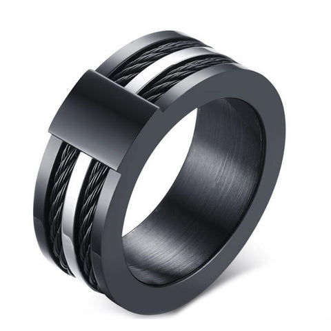Men's Punk Rock Ring Fahsion Titanium Steel Party Jewelry Cool Black Wire Rings For Male - onlinejewelleryshopaus