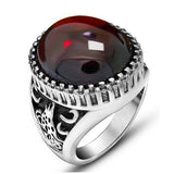 Size 7-12 Men Rings Big Black/Red Round Stone Antique Stainless Steel Ring For men Retro Texture Engraved Wholesale Punk ring - onlinejewelleryshopaus