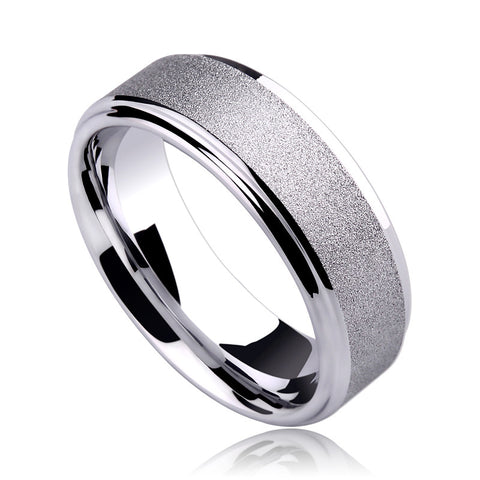 Free Shipping 7MM White Tungsten Rings for Man Brushed Surface for Engagement Wedding Anniversary Gift - onlinejewelleryshopaus