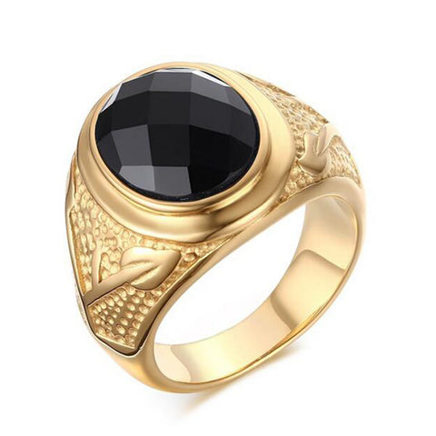 New Fashion Men Ring IP Gold Plated Titanium Ring 316L Stainless Steel Black Agate Ring Quality Male Finger Jewelry Wholesale - onlinejewelleryshopaus