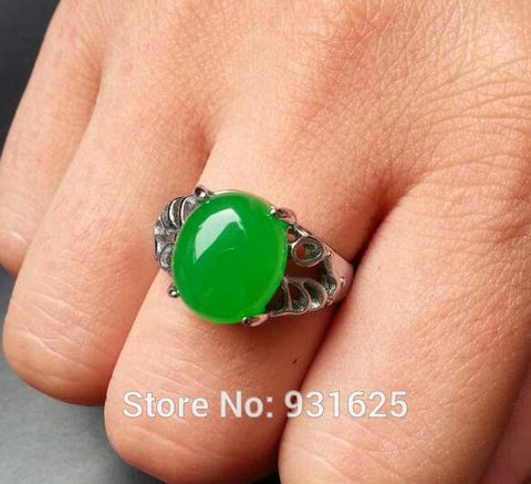 wholesale high quality Natural Green Jade Inlay Lucky Ring jade jewelry engagement wedding rings for women and men - onlinejewelleryshopaus