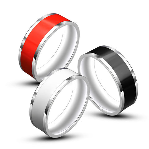 2016 New Accessories Fashion Classic 316L Stainless Steel Rings for Men Black/White/Red Round Titanium Steel Mens Ring KR558 - onlinejewelleryshopaus