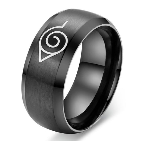 Jiayiqi New Hot Naruto Black Color Trendy Titanium Steel Solid Ring For Men Jewelry Party Christmas Gift 2017 - onlinejewelleryshopaus