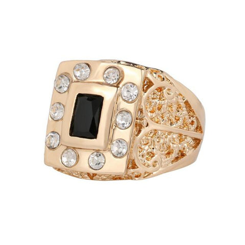 Size 9-11 Fashion Jewelry Men Rings 2015 New Style Black Resin With Crystal Rhinestone Rose Gold Plated Filled Ring - onlinejewelleryshopaus
