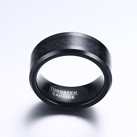 Punk Men's Tungsten Carbide Rings 8MM Black Carbon Fiber Inlay and Beveled Edges Wedding Bands Free Gift Box - onlinejewelleryshopaus