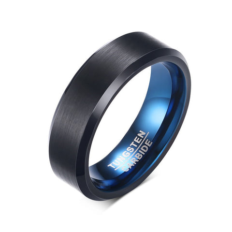6MM Tungsten Carbide Mens Ring IP Black/Blue Plating Matte Finished Rings for Men Fashion Jewelry RING-0080 - onlinejewelleryshopaus