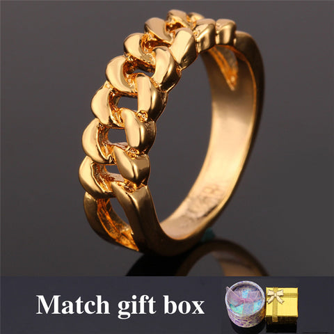 Hot Hollow Chain Wedding Ring For Women Jewelry Anillos GIFT BOX Trendy Gold Plated Fashion Engagement Band Mens Rings R817 - onlinejewelleryshopaus
