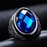 Punk Rings For Mens Blue Stone Fashion Stainless Steel Jewelry Exquisite Titanium Steel Men Ring - onlinejewelleryshopaus