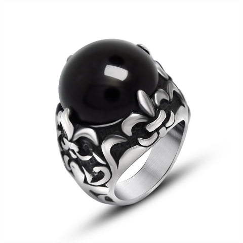 2016 New Arrival Black/Red Agate Stainless Steel Classic Fashion Jewelry Rings for Men Retro Gothic Classic  Mens Ring,KR729 - onlinejewelleryshopaus