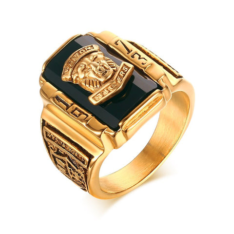 Men's Gold Plated Stainless Steel 1973 Walton Tiger High School Class Rings  Black/Green/red/blue - onlinejewelleryshopaus
