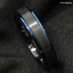 6mm Tungsten Carbide Ring Black Brushed Blue Stripe Wedding Band Men's Jewelry Free Shipping - onlinejewelleryshopaus
