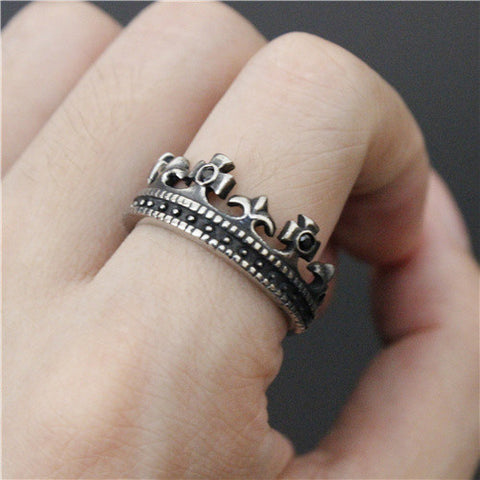Newest Style Polishing Imperial Crown Ring Cross Ring Top Quality 316L Stainless Steel Cool Mens Ring - onlinejewelleryshopaus