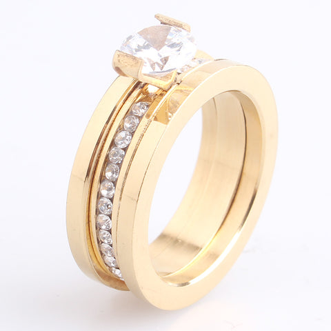 8mm gold 2 in 1 zircon 316L Stainless Steel wedding rings for men women wholesale - onlinejewelleryshopaus