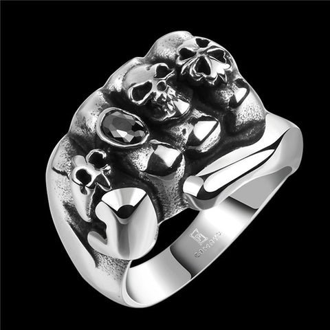 2015 men's fashion charm stainless steel skull ring with zircon personalized Halloween gift exaggerated high-quality global  Hot - onlinejewelleryshopaus