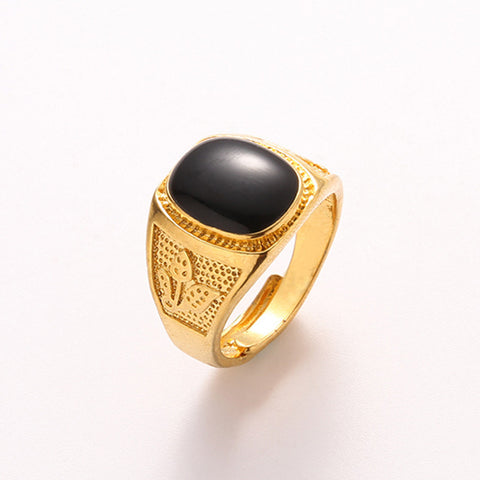 Hot Gold Plated Black Gem Rings for Men Male Wide Gold Finger Rings Leaves Ring Wedding Bands - onlinejewelleryshopaus