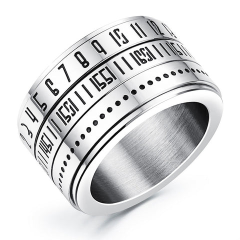 2016 Fashion Men's Stainless Steel Ring  men jewelry 14MM Wide Rotatable digital design punk Rock rings Size 7 8 9 10 11 12 - onlinejewelleryshopaus
