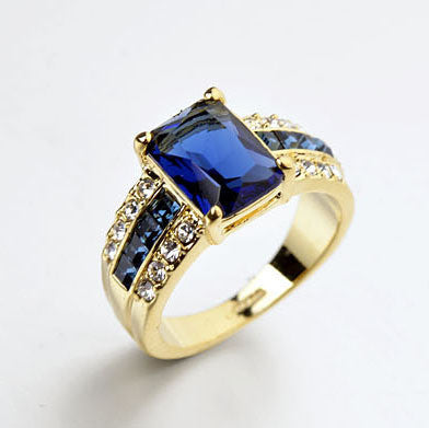USTYLE 2014 New Arrival  Gold Plated Vintage Engagement Ring for Women and Men with Dark Blue Stone UR0547 - onlinejewelleryshopaus