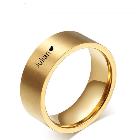 Unique Personalized Gold Name Rings ,Gold Stainless Steel Custom Wedding Bands For Men Women Wedding Gift, Free Engraving - onlinejewelleryshopaus