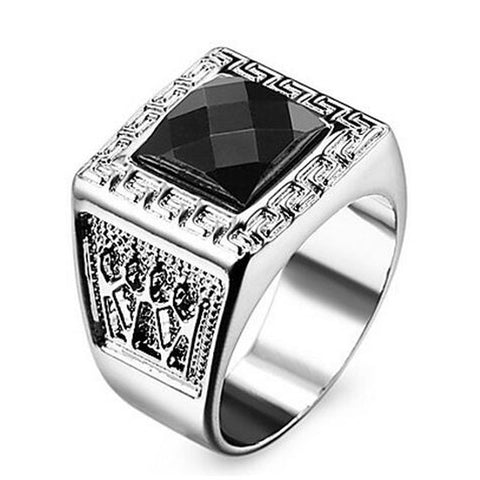 Vintage personality Punk style Men's Rings Square metal finger ring Gold Silver ring  Hot sale SWXFR613 - onlinejewelleryshopaus