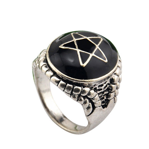 Ajojewel Antique Silver Plated Pentacle Alex Streeter Designed Angle Heart Men Ring Size 10 - onlinejewelleryshopaus