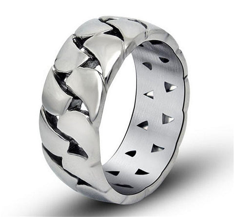 Sales Retro Cool Weaved Rings For Men Famous Brand Wedding Jewelry Fashion Chian 316L Stainless Steel Mens Rings Man Ring Anel - onlinejewelleryshopaus