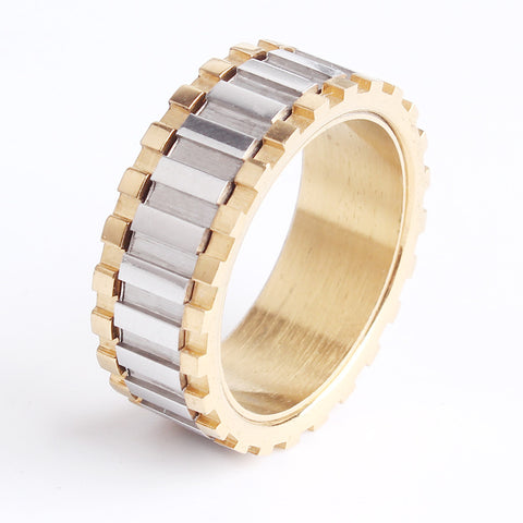 8mm gold gear rotation 316L Stainless Steel rings for women men wholesale jewelry - onlinejewelleryshopaus