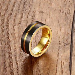 Mprainbow Fashion Mens Rings Black Metal Tungsten Carbide Rainbow Groove Male Ring Wedding Engagement Band Trendy Jewelry Anel - onlinejewelleryshopaus