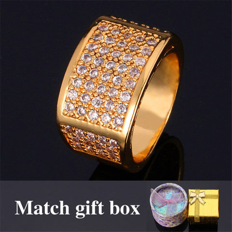 Men's Rings Big Yellow Gold Plated High Quality Cubic Zirconia Wedding Band Rings Fashion Jewelry For Men Wholesale R318 - onlinejewelleryshopaus