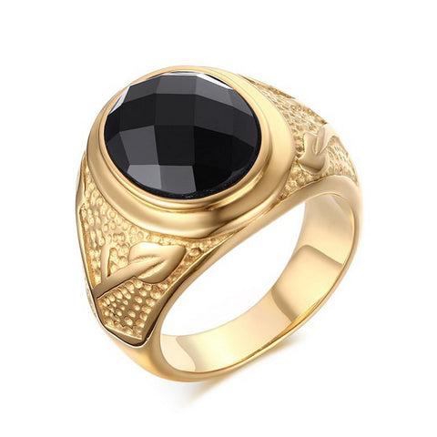 Wholesale Fashion super Black Agate rings men Jewelry Male Gold plated Men ring 316L Stainless steel High quality finger Ring - onlinejewelleryshopaus