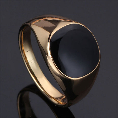 anillos SIZE 7-12 2015 New Vintage plated classic gold men rings black enamel painting jewelry fashion Anel sa779 - onlinejewelleryshopaus